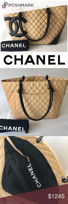 Chanel Cambon Large Leather Tote EUC Authentic Chanel Cambon Large Leather Tote. Black and Beige lamb skin leather inside is flawless Chanel logo black nylon lining. Silver hardwares. Please check all the photos; the last picture shows all the flaws. CHANEL Bags Totes