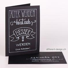 handbeschriftet: Karte A5 schwarz; andere Formate, Farben, Texte und Schriften wählbar im Online-Shop!
