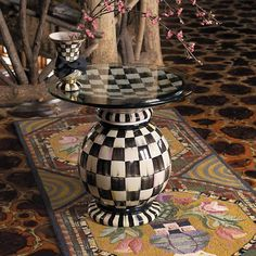 I want this MacKenzie-Childs Courty Check Globe Table Kids Furniture, Painted Furniture, Mackenzie Childs Furniture, Black And White Design, Ceramic Table, Stencil Painting, Furniture Restoration, Diy Dollhouse, Upholstered Furniture