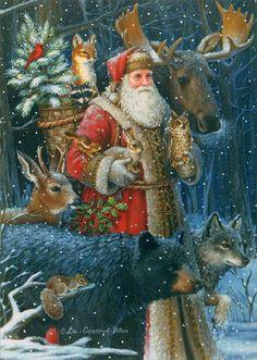 Father Christmas Woodland Santa - Box of 16 Christmas Cards - INPCreative - 1 Boxed Christmas Cards, Christmas Scenes, Noel Christmas, Victorian Christmas, Father Christmas, Christmas Printables, Christmas Pictures, Christmas Greetings, Winter Christmas