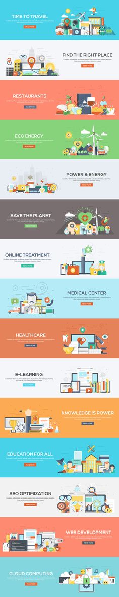 Set of Flat Color Banners Design Concept on various topics of Ecology, Power and Energy, Education and Learning, Healthcare and Medicine, Seo and Development, Travele and Resyaraunts, etc. Concepts web banner and printed materials.Icons Collection of Cre… Like & Repin. Noelito Flow. Noel http://www.instagram.com/noelitoflow