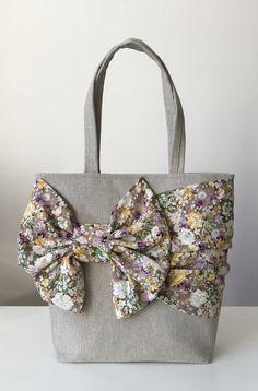 Bow, shoulder bag, woman bag, beige, flowers, handmade, unique