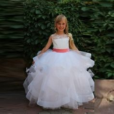 Find More Flower Girl Dresses Information about 2016 Flower Girl Dress Baby Pink Sash Button Organza Ruffles Tiered White Flower Girl Dresses With Lace Sleeveless Ball Gown,High Quality dress show,China dress types for body types Suppliers, Cheap dress flower from Charming Dress Factory on Aliexpress.com