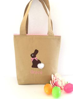 A personal favorite from my Etsy shop https://www.etsy.com/listing/507822808/personalized-easter-baskets-easter-bags