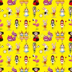 Seamless Alice in Wonderland pattern — Imagens vectoriais em stock