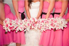 Soft Pink Roses and White Lilies Wedding Bouquets