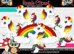 Rainbow Pony Friends 1 Clipart Digital Download by MaddieZee, $2.75