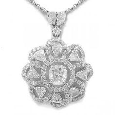 1.84ct 14k White Gold Diamond Necklace -Allurez.com