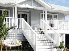 Dulux Miller Mood and Lexicon Quarter White Exterior Houses, Exterior Tiles, Exterior Color Schemes, Grey Exterior, House Paint Exterior, Exterior Paint Colors, Exterior House Colors, Colour Schemes, Queenslander House