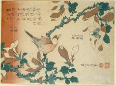 Katsushika Hokusai - A Paddy Bird Perched On A Flowering Magnolia Branch From The Series ''Small Flowers''