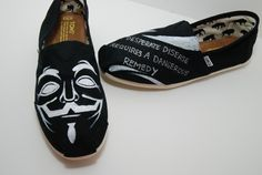 Want want want want want Guy Fawkes - Handpainted Custom TOMS Shoes Toms One For One, Guy Fawkes Night, Toms Shoes Outlet, Walk Run, Discount Toms, Painted Shoes, Mens Fashion, Fashion Outfits, Slip On