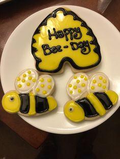 Happy bee day sugar cookies