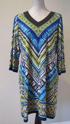 Women's Chico's Sz 2 Tunic Top Dress Blue Green Tribal Batik Indie V Neck #Chicos #Tunic #Casual