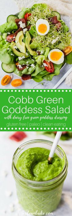 Cobb Green Goddess Salad with homemade #dairyfree Green Goddess Dressing #glutenfree #glutenfreerecipe #glutenfreedinner #paleo #paleorecipe #paleodinner #whole30 #adaptable #healthyrecipe #healthydinner #lowcarb #lowcarbrecipe #keto #ketorecipe #lowcarbdinner #lowcarblunch #Paleolunch #glutenfreelunch via @acleanbake