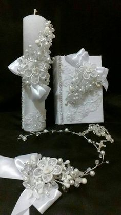 First Communion candle set head Comb set de por FANNYCARMENDESIGN