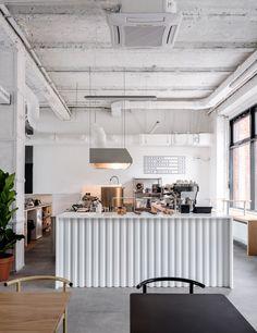Asketik creates stark white coffee shop in Soviet silk factory Coffee Shop Interior Design, Coffee Shop Design, Cafe Design, Küchen Design, Design Ideas, Small Coffee Shop, Coffee Shops, Coffee Coffee, Cafe Counter