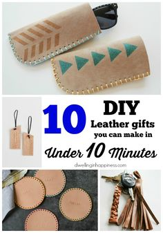 10 DIY Leather Gifts you can Make in Under 10 Minutes - Dwelling In HappinessYou can find Leather crafts and more on our we. Diy Leather Gifts, Diy Leather Projects, Leather Diy Crafts, Diy Leather Ideas, Diy Leather Keychain, Diy Leather Stamp, Leather Crafting, Handmade Leather Wallet, Leather Art