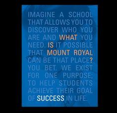 Mount Royal University Viewbook by Joslin Green, via Behance