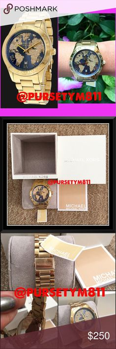 Authentic Michael Kors Crystal Gold Watch AUTHENTIC  Gorgeous oversized crystal globe watch from Michael Kors  Gold tone stained steel case & bracelet. Gold crystal pave dial set in a globe motif . Scratch resistant mineral crystal. Water resistant at 100 meters/330 feet. New w/ tag, booklet & box. NO TRADE ❌ STUNNING  Michael Kors Accessories Watches