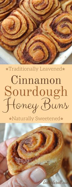 These Cinnamon Sourdough Honey Buns are traditionally leavened and naturally sweetened. Made with real food ingredients these cinnamon buns are a nourishing, wholesome treat you can feel good about sharing. Sourdough Honey Buns are great for everyday or m Sourdough Cinnamon Rolls, Sourdough Pancakes, Sourdough Recipes, Sweet Sourdough Bread Recipe, Sourdough Bread Starter, Honey Recipes, Baking Recipes, Real Food Recipes, Dessert Recipes