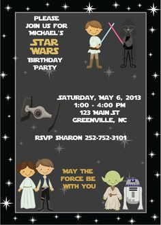 Star Wars Birthday Invitations Shop personalized birthday party invites ideal for a star wars themed children's celebration. Star Wars Invitations, Birthday Party Invitations Free, Personalized Birthday Invitations, Birthday Invitation Templates, Invitation Ideas, Printable Invitations, Invitation Design, Star Wars Birthday, Star Wars Party