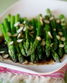 Roasted Asparagus with Balsamic Soy Browned Butter - 2 lbs. asparagus spears - butter - low sodium soy sauce -balsamic vinegar - slivered almonds