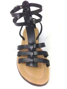 Excellent quality leather sandals made in Greece with natural skin lining and polyurethane sole. Available in black color. Very comfortable
