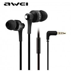 Awei ES710i Headphone Earphone Flat Cable 3.5mm for Mobile Phone Iphone MP3 Samsung (Black)