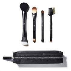 The Sonia Kashuk Double Duty Brush Set takes on twice the application. This set contains a blusher/contour brush, foundation/concealer brush, large eye/angled eye shadow brush and an eyebrow comb/c… How To Wash Makeup Brushes, Best Makeup Brushes, Eyeshadow Brushes, Makeup Brush Set, Makeup Tools, Best Makeup Products, Cosmetic Brushes, Contour Brush, Concealer Brush