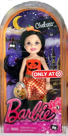 2015 Barbie Sister Chelsea Brunette Doll in Halloween Costume Pumpkin Costume #Mattel