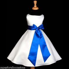 White Royal Blue A Line Wedding Flower Girl Dress 12M 18M 2 3T 4 5T 6 8 10 12 14 | eBay