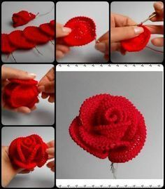 crochet flower patterns How to Crochet Pretty Roses - Today we are going to show you – how to Crochet Pretty Roses. Crochet Pretty Roses will be a great gift for every woman on birthday.How to Crochet Pretty Roses - More like how to SEW pretty rose Roses Au Crochet, Crochet Puff Flower, Crochet Flower Tutorial, Knitted Flowers, Crochet Flower Patterns, Love Crochet, Crochet Gifts, Crochet Motif, Beautiful Crochet
