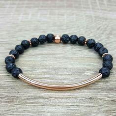 Lava Rock & Rose Gold bar bracelet