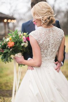 Beautifull Embellished Wedding Dress Back | Jessica Gold Photography | Vintage Chic Pink and Gold Glitter