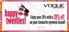 Hurry to avail 20% Off on stylish Vogue Sunglasses. Sale ends soon! Get yours at http://www.gkboptical.com/sunglasses/vogue/
