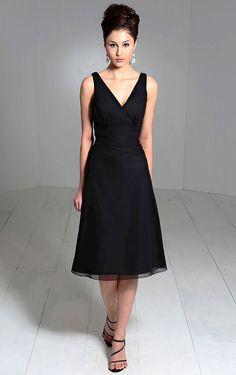 Cheap Tea-length A-line Chiffon V-neck Sleeveless Bridesmaid Dresses