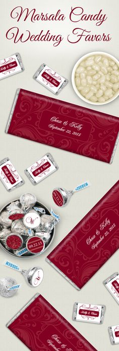 Pantone Color of the Year: Marsala Candy Wedding Favors - Personalized Chocolate Bar Wrappers and Custom Stickers for Candy