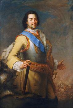 Portrait of Tsar Peter I The Great Alexseyevich Romanov (9 Jun 1672-8 Feb 1725 age 52) Russia by Maria Giovanna Battista Clementi.