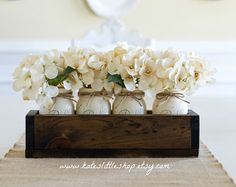 Rustic Planter Box with 3 Painted Mason Jars. by KatesLittleShop