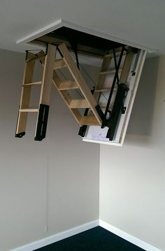 Retractable stairway garage loft stairs staircases for tight es cozy bedroom attic lofts saving design and Loft Storage, Storage Spaces, Garage Loft, Attic Ladder, Loft Ladders, Stair Decor, Attic Stairs, Attic Renovation, Staircase Design