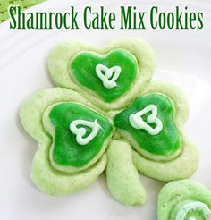 Make your own yummy Shamrock cake mix cookies for St. Patrick's day!This is the same idea as my Spring Cake mixcookies. Instead of making butterflies with heart shaped cookie cutters, you'll be making shamrocks. It's like making art with your cookie dough! - Designed by Jen Goode