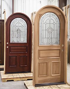 5 Panel Round Top Mahogany Wood Entry Door with Glass Entry Doors With Glass, Wood Entry Doors, Entrance Doors, Glass Door, House Doors, Round Top, Door Ideas, Brick, Exterior
