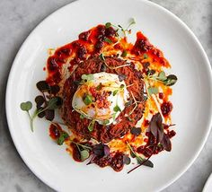 Sweet potato cakes and poached egg