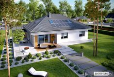 Simple, small, modern family home. Projekt domu Astrid (mała) by Pracownia P. Beautiful House Plans, Modern House Plans, Modern House Design, Beautiful Homes, Style At Home, Bungalow Haus Design, Village House Design, Modern Cottage, Dream House Exterior