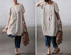 Etsy clothingshow Rice loose cotton Shirt top / Cotton dress / Linen Women Blouse Like it,comfortable and charming Linen Dresses, Cotton Dresses, Vetements Clothing, Beautiful Outfits, Cute Outfits, Mein Style, Looks Cool, Mode Inspiration, Fashion Outfits