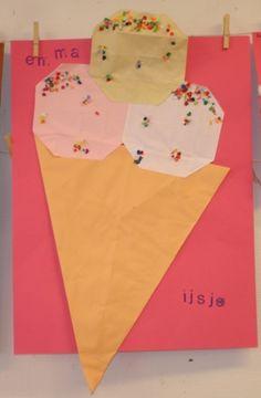 * IJs vouwen Het hoorntje van een vlieger en de ijsbollen van 16 vierkantjes. en spikkels!