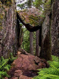 A suspended boulder in Skuleskogen, Sweden