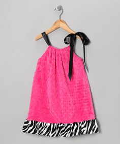 Take a look at this Fuchsia Zebra Flocked Swing Dress - Infant, Toddler & Girls by Lolly Gags on #zulily today!