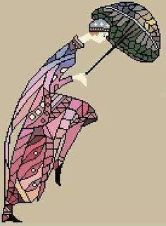 0 point de croix femme 1930 et parapluie - cross stitch 1930 lady and umbrella