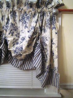 Valance,Curtains, Window treatments, Canopy, Swag, Blue and White. $15.99, via Etsy. For reference. I really like the mix of flowers and stripes.